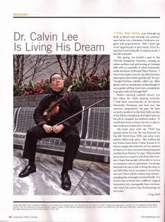 Calvin Lee in Strings Magazine Sept 2009 issue